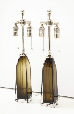 Orrefors Orrefors Pair of Large Olive Crystal Lamps  - 1138503