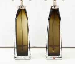 Orrefors Orrefors Pair of Large Olive Crystal Lamps  - 1138505