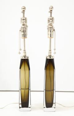 Orrefors Orrefors Pair of Large Olive Crystal Lamps  - 1138507
