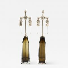 Orrefors Orrefors Pair of Large Olive Crystal Lamps  - 1139058