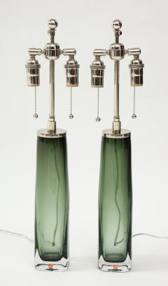 Orrefors Pair of Large Green Glass Lamps by Orrefors  - 1866883