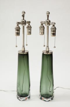 Orrefors Pair of Large Green Glass Lamps by Orrefors  - 1866884
