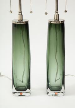 Orrefors Pair of Large Green Glass Lamps by Orrefors  - 1866885