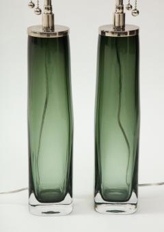 Orrefors Pair of Large Green Glass Lamps by Orrefors  - 1866886