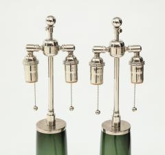 Orrefors Pair of Large Green Glass Lamps by Orrefors  - 1866887