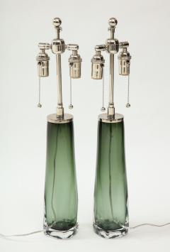 Orrefors Pair of Large Green Glass Lamps by Orrefors  - 1866889
