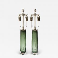 Orrefors Pair of Large Green Glass Lamps by Orrefors  - 1873572