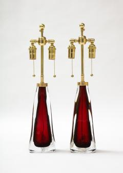 Orrefors Pair of Large Ruby Red Orrefors Lamps  - 2045318