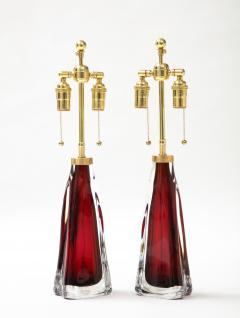 Orrefors Pair of Large Ruby Red Orrefors Lamps  - 2045319