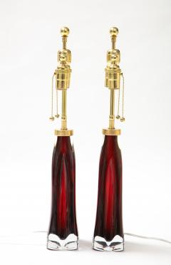 Orrefors Pair of Large Ruby Red Orrefors Lamps  - 2045320