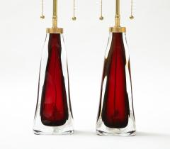 Orrefors Pair of Large Ruby Red Orrefors Lamps  - 2045321