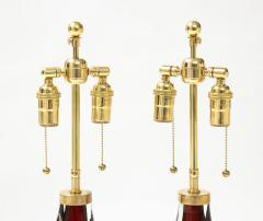 Orrefors Pair of Large Ruby Red Orrefors Lamps  - 2045326