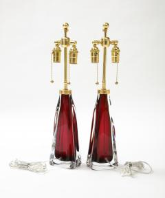 Orrefors Pair of Large Ruby Red Orrefors Lamps  - 2045330