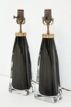 Orrefors Pair of Midnight Blue Orrefors Crystal Lamps - 779814