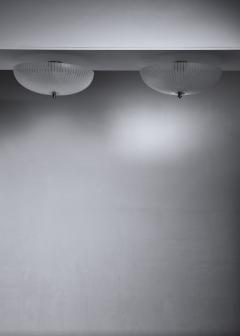 Orrefors Pair of striped glass flush mounts - 1376575