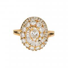 Oscar Heyman Brothers OSCAR HEYMAN 18K YELLOW GOLD 2 CARAT OVAL CUT DIAMOND HALO RING - 1913153