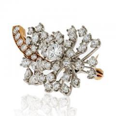 Oscar Heyman Brothers OSCAR HEYMAN DIAMOND 3 75 CARATS FLORAL BROOCH - 1858315