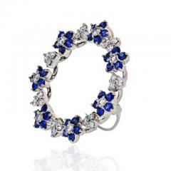Oscar Heyman Brothers OSCAR HEYMAN PLATINUM SAPPHIRE DIAMOND ROUND CIRCLE BROOCH - 1858287