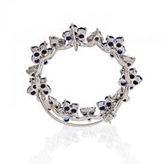 Oscar Heyman Brothers OSCAR HEYMAN PLATINUM SAPPHIRE DIAMOND ROUND CIRCLE BROOCH - 1858290