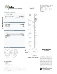Oscar Heyman Brothers Oscar Heyman GIA Certified 1 45 Carat Pear Diamond Gold Platinum Engagement Ring - 408634