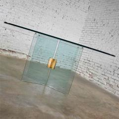 Pace Collection All glass dining table with brass plated connector attr to the pace collection - 1682170