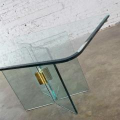 Pace Collection All glass dining table with brass plated connector attr to the pace collection - 1682178