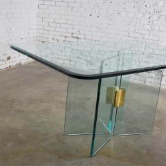 Pace Collection All glass dining table with brass plated connector attr to the pace collection - 1682179
