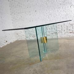 Pace Collection All glass dining table with brass plated connector attr to the pace collection - 1682180