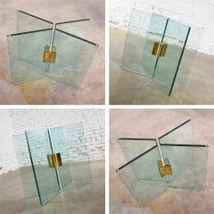 Pace Collection All glass dining table with brass plated connector attr to the pace collection - 1682181