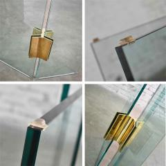 Pace Collection All glass dining table with brass plated connector attr to the pace collection - 1682189