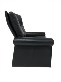 Pace Collection Guido Faleschini Black Leather a Lounge Chair and Ottoman Italy 1970 PACE - 1661563