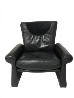 Pace Collection Guido Faleschini Black Leather a Lounge Chair and Ottoman Italy 1970 PACE - 1661564