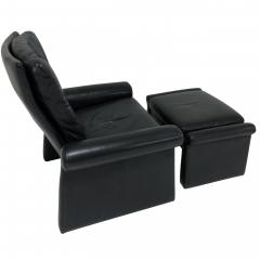 Pace Collection Guido Faleschini Black Leather a Lounge Chair and Ottoman Italy 1970 PACE - 1661565