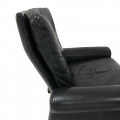 Pace Collection Guido Faleschini Black Leather a Lounge Chair and Ottoman Italy 1970 PACE - 1661566