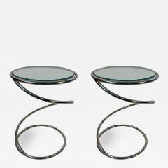 Pace Collection MODERNIST PAIR OF CHROME SPIRAL TABLES BY PACE - 1806933