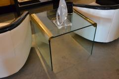 Pace Collection Mid Century Modern Pace Brass and Glass Waterfall End Side Table - 622760