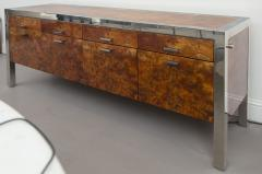 Pace Collection Pace Collection Burled Wood and Chrome Credenza - 565362