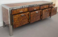 Pace Collection Pace Collection Burled Wood and Chrome Credenza - 565368