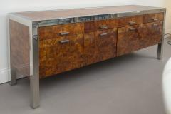 Pace Collection Pace Collection Burled Wood and Chrome Credenza - 565370