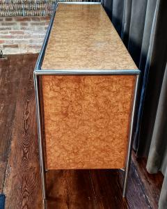 Pace Collection Pace Collection Custom Made Burled Olive and Chrome Credenza - 1246263