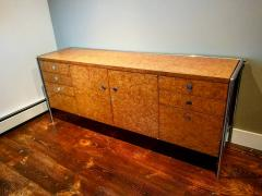 Pace Collection Pace Collection Custom Made Burled Olive and Chrome Credenza - 1246272