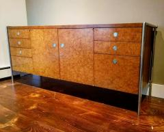 Pace Collection Pace Collection Custom Made Burled Olive and Chrome Credenza - 1246277