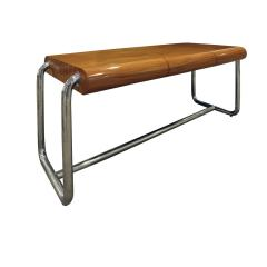 Pace Collection Pace Collection Large Desk in Lacquered Rosewood and Chrome 1970s - 1099475