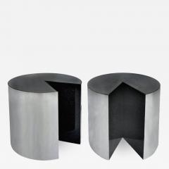 Pace Collection Pace Collection Stainless Steel and Granite Side Tables Pair - 524721