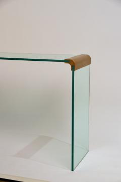 Pace Collection Slender Glass and Gilt Bronze Waterfall Console by Leon Rosen for Pace - 977729