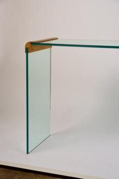 Pace Collection Slender Glass and Gilt Bronze Waterfall Console by Leon Rosen for Pace - 977730