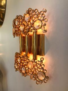 Palwa 2 Pair of Brass and Crystal Glass Sconces by Palwa Germany 1970s - 799873