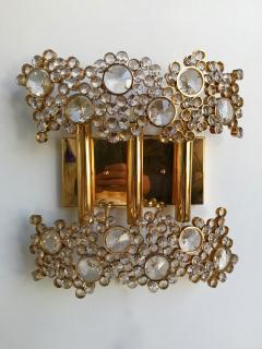 Palwa 2 Pair of Brass and Crystal Glass Sconces by Palwa Germany 1970s - 799874