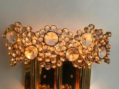 Palwa 2 Pair of Brass and Crystal Glass Sconces by Palwa Germany 1970s - 799875