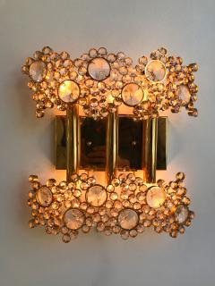 Palwa 2 Pair of Brass and Crystal Glass Sconces by Palwa Germany 1970s - 799876